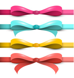 bow - ribbon set colorful bows - ribbons isolated vector image