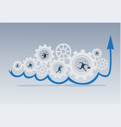 Business people group running in cog wheel work vector