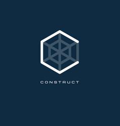 C monogram letter construct logo vector