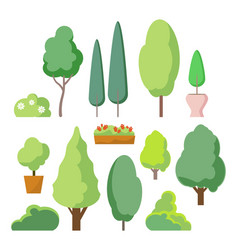 cartoon bush and tree set trees and bushes vector image