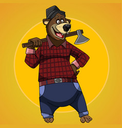 cartoon character bear dressed in the clothes vector image