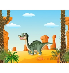 Cartoon cute dinosaur withprehistoric t background vector