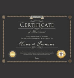 Certificate or diploma retro design template 6 vector