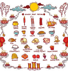Chinese Ghost Festival Offerings vector