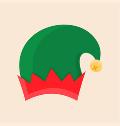 christmas elf hat isolated on beige background vector image