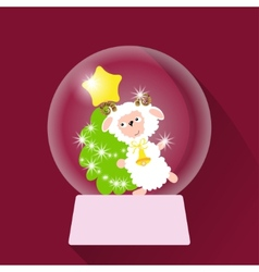 Christmas Snow globe with sheep vector image
