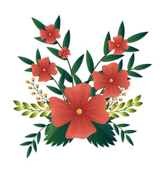 Colorful flowers with leaves vector