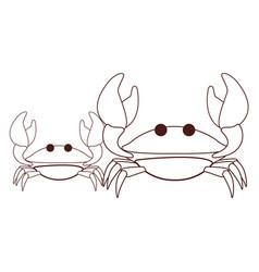crabs beach animals cartoon black and white vector image