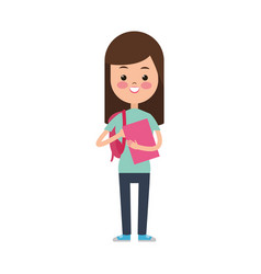 cute girl student elementary cheerful vector image