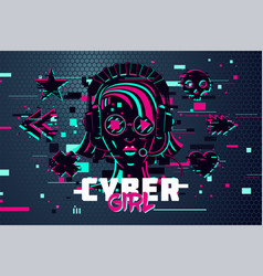 cyber punk woman girl gamer portrait video games vector image