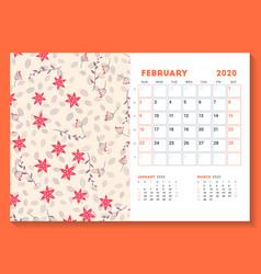 desk calendar template for february 2020 week vector image