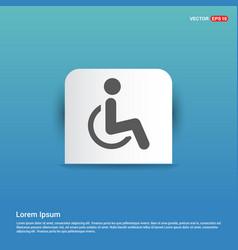 Disabled person icon - blue sticker button vector