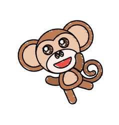 drawing monkey animal character vector image vector image