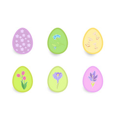 easter set of beautiful eggs with floral patterns vector image