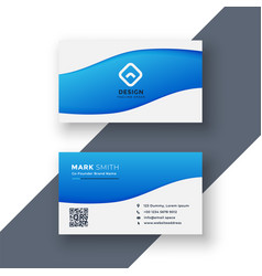 elegant and simple blue business card design vector image