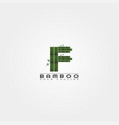 F letter bamboo logo template creative design vector