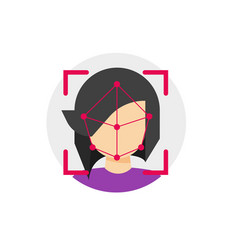 face id recognition icon flat cartoon vector image