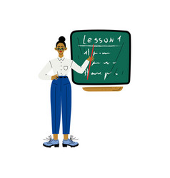 female teacher character standing in front of vector image