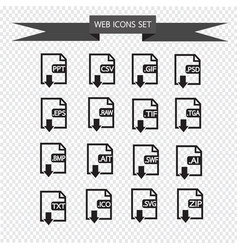 files format icon set vector image