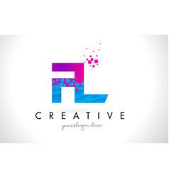 Fl f l letter logo with shattered broken blue vector