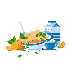 flat food with cup of tea milk orange green vector image