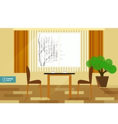 Flat interior room with sofa vector image