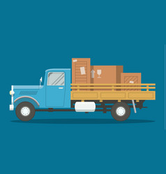 Flat loaded truck vector