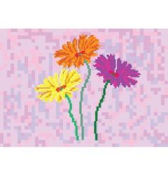 flowers on purple background in pixels vector image