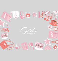 girls accessories and cloths frame banner vector image