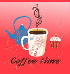 graphic time coffee and cake vector image