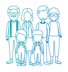 Group of cute family members characters vector