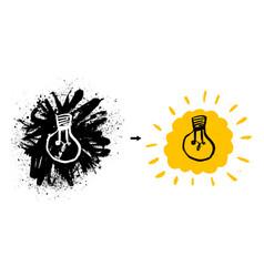 grunge with light bulb modern hipster sketch vector image