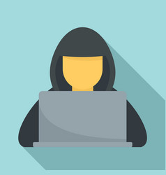 Hacker with hood icon flat style vector