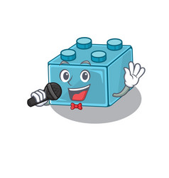 Happy lego brick toys singing on a microphone vector