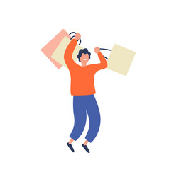 Happy shopaholic man having fun holding package vector