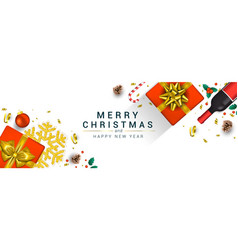 holiday new year card - merry christmas on vector image