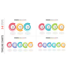 Infographic 3-6 steps process charts with circular vector
