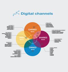 Infographics digital channels color diagram of the vector