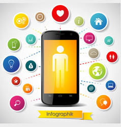Infographics elements with smartphone vector