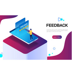 isometric feedback or rating concept businessman vector image