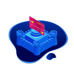 isometric protection of bank cards bank service vector image