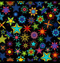 Kaleidoscope stars black background vector