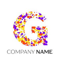 Letter g logo with purple yellow red particles vector