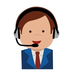 Man headset support icon graphic vector