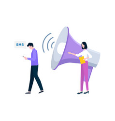 Man reading sms and woman with bullhorn vector