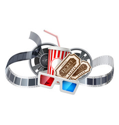 movie cinema poster cup tape glasses vector image
