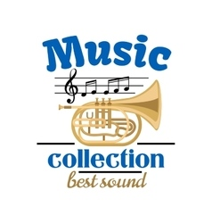 Musical instrument badge for music design vector