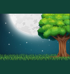 Nature scene with full moon at night vector