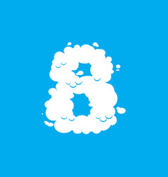number 8 cloud font symbol white alphabet sign vector image