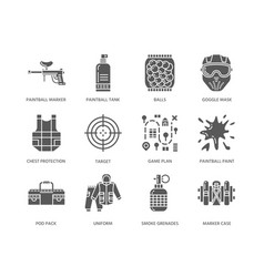 Paintball game glyph icons outdoor sport vector